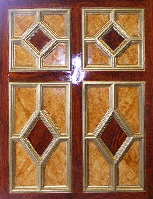 Satin Wood and Mahogany Wood Grained and Gilded Wall Panel, 19th Century Private Residence, London