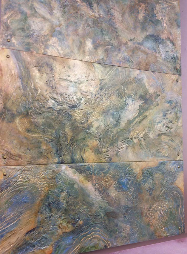 Tarnished Metal, Metal Wall Panels, Wall Installiation, Distressed Metal
