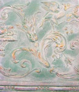 Lincrusta painting, verdigris paint effect, gilded lincrusta, specialist paint finishes