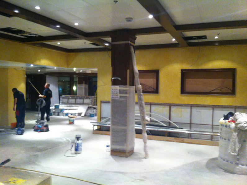 Distressed plaster finish with decorative paint finish for Giovannis Restaurant, on board Vision of the Seas cruise ship.