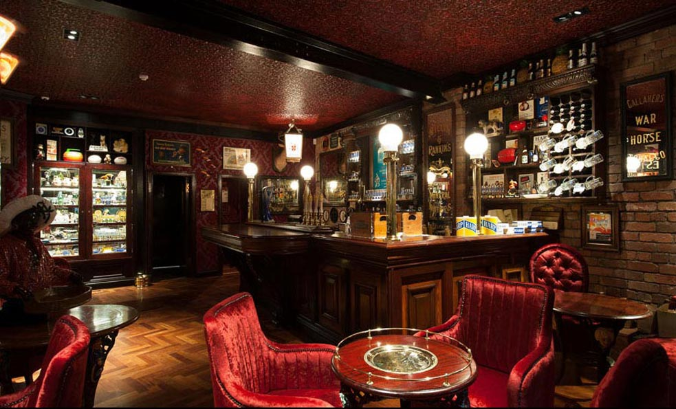 Specialist antique paint effect to the L'incrusta ceiling at the Harp Bar in Belfast by Devlin In Design.