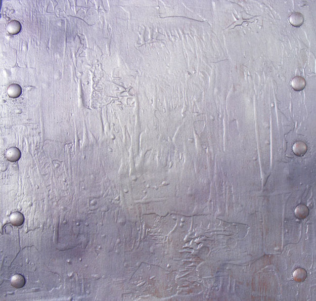 Distressed and aged metallic plaster wall facade for a nightclub.