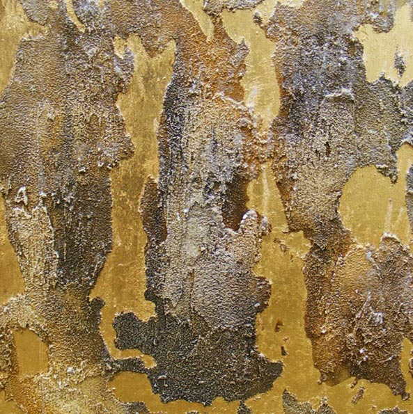 Old world plaster finish was designed for an office feature wall. The distressed and gilded plaster was created by Devlin In Design.
