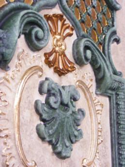 Faux stone paint effect, verdigris paint effect, gilding UK