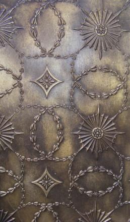 Lincrusta painting, decorative painters UK, bronze paint effect, specialist decorating