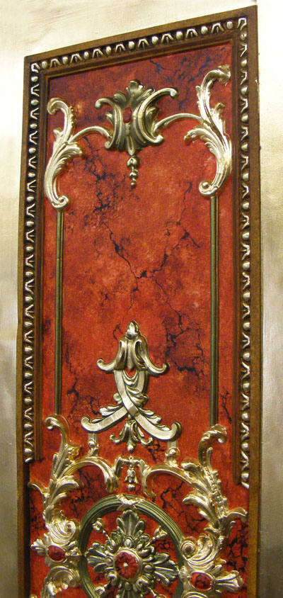 Restored decorative panel, marbled, gilded and treated with several different faux finishes.
