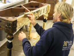 Gilded table, gold leaf, specialist decorators UK, specialist decorating Northern Ireland