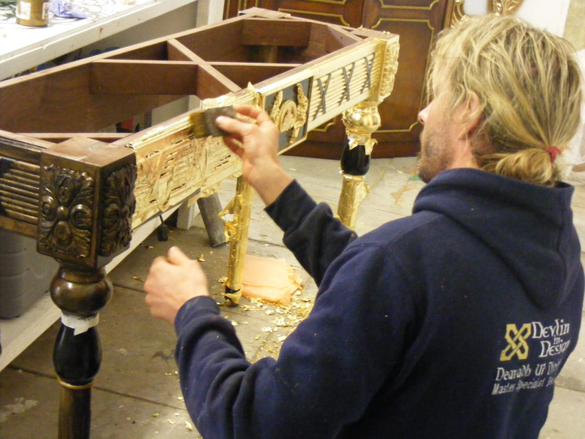 Gilded decorative table with 23.5ct gold leaf, private residence Northern Ireland.