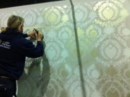 Stencilled metallic wall, specialist decorators UK, specialist decorating Northern Ireland