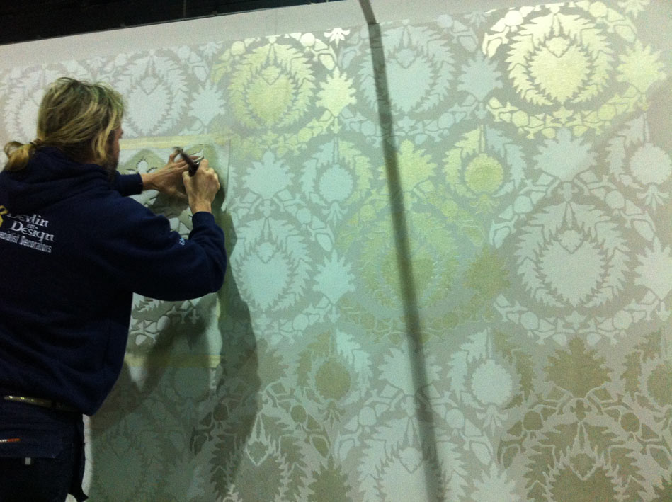 Stencilled metallic wall finish for Aspire Design at the RDS Interior's Show in Dublin, Ireland.
