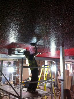 Lincrusta ceiling, distressed decorative finish artists UK, specialist decorators UK, Lincrusta effect