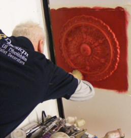 ceiling rose, decorative paint finish, specialist decorating UK, faux finish
