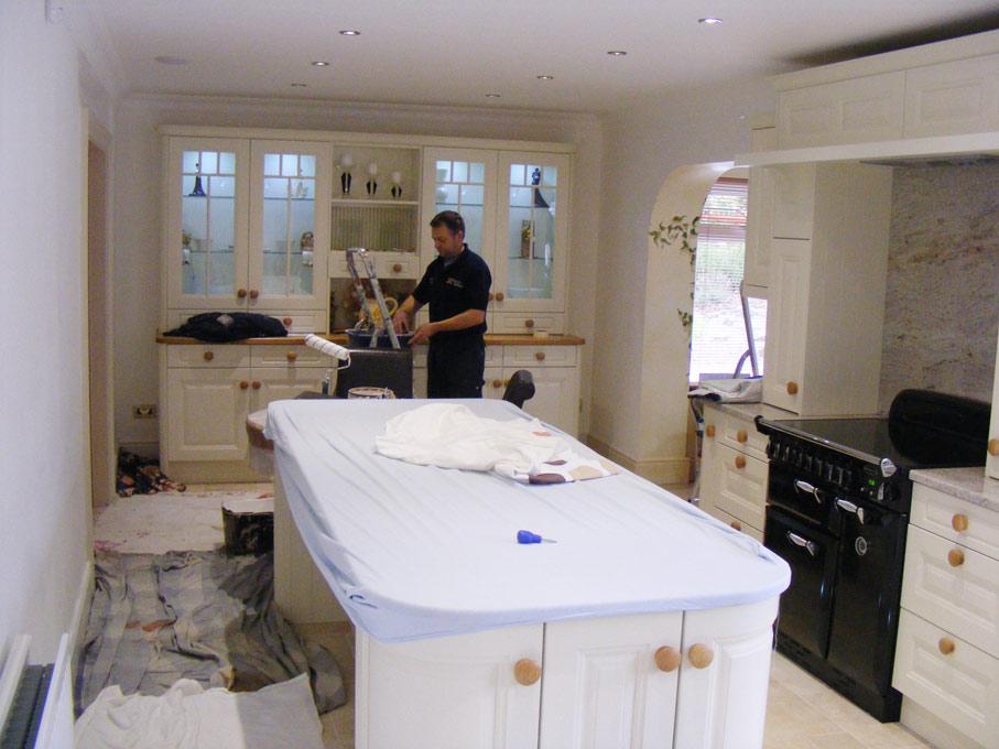 Prepairing walls for venetian plaster, polished plaster application by Devlin in Design specialist decorators.