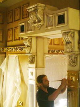 Gold leaf gilding UK, decorative corbel, specialist decorating Ireland