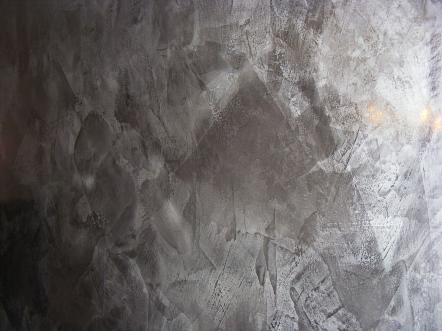 The dark grey pigment was chosen by the interior designer for the colour of the venetian plaster to be applied to the nightclub entrance.