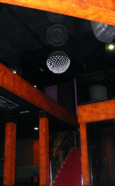 Textured faux rust finish to pillars, columns and beams, Fusion Nightclub Bundoran, Ireland.