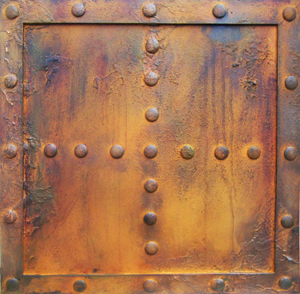 Faux rust panel with studs, hand painted by Devlin in Design artists for BBC ship scene.