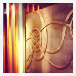 Metallic faux finish, sculptural installation, decorative painters Ireland, specialist decorators