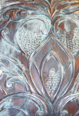 Rustic copper patina, textured patina, copper patina panel, Lincrusta patina