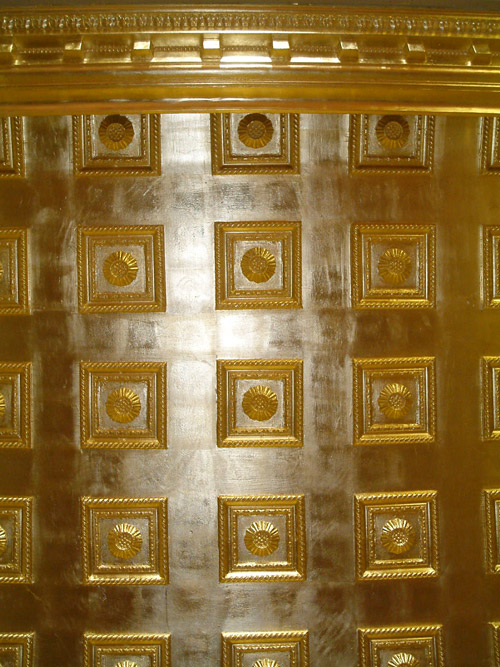 Casino ceilings gilded in 24ct gold, polished and sealed over the decorative moulds and cornice by our team of specialist decorators and gilders.
