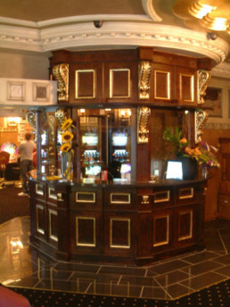 Woodgrained Kiosk, gilded corbels, gold leaf, specialist decorators UK