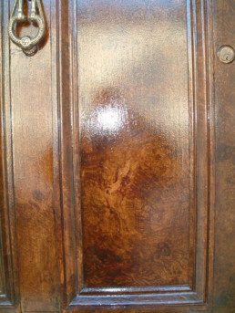 Walnut woodgrain, restoration, specialist decorating UK, decorative painting Middle east