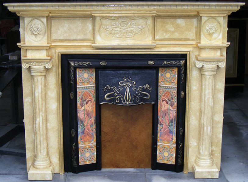 Faux marble fireplace with gold leaf gilded antique fire surround,