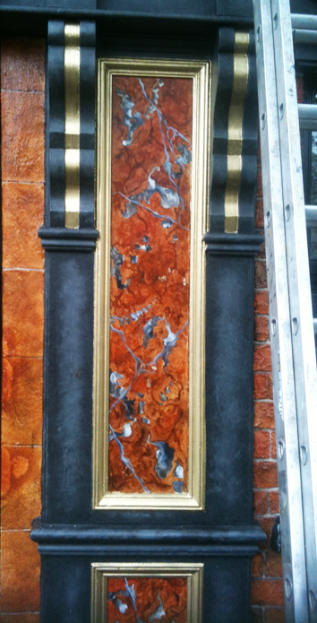 Royal Rouge faux marble panels with gilded frames, on the exterior of the Cock Tavern Bar and Restaurant, Dublin, Ireland.