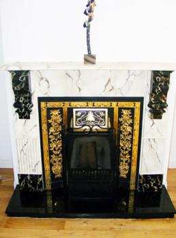 White Breche faux marble fireplace, Portoro faux marble corbels