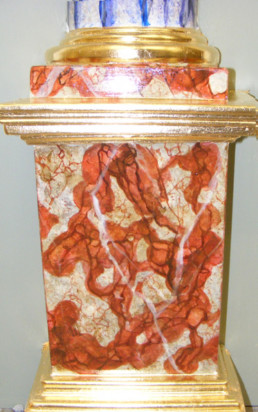 Languedoc faux marble pillar, gilded moulds, Languedoc faux marbre