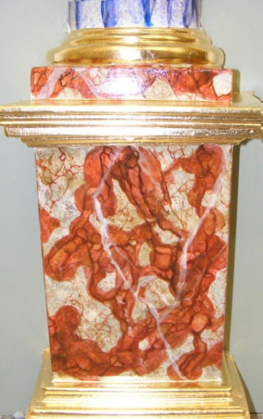 Languedoc faux marble pillar base with gold leaf gilded moulds.