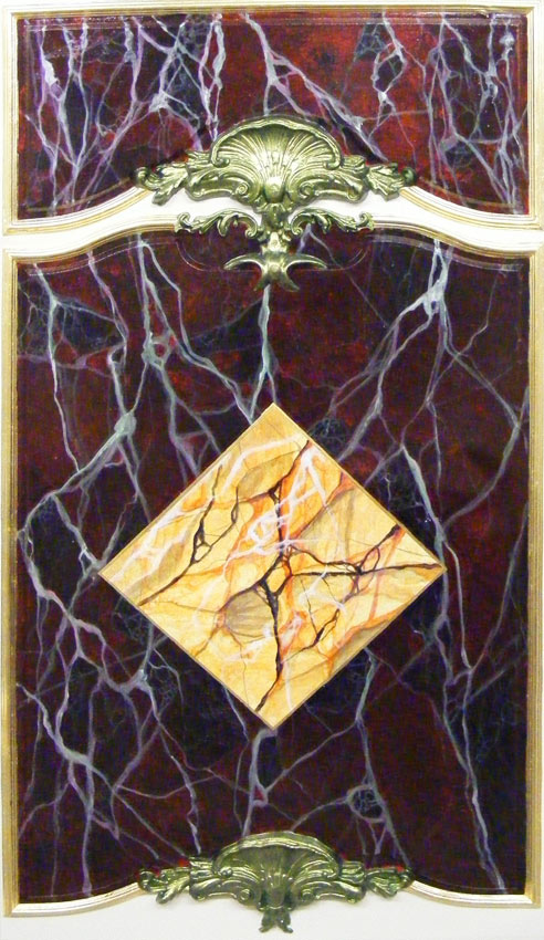 Sienna and Red Levanto faux marble panel, gold leaf gilded trim and frame and aged metallic green gold cornice inlay.