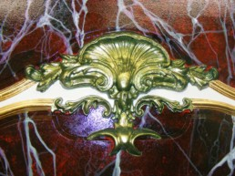 Red Lavanto marble finish, faux marble, gilded frame, metallic inlay