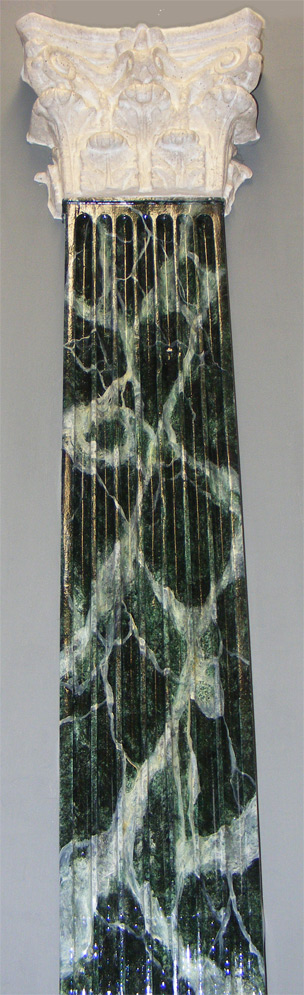 Custom hand painted Verd Egypt green faux marble pillar, with faux stone decorative capital.