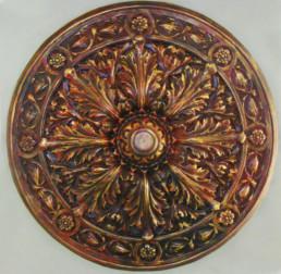 ornate ceiling rose, antique gold, specialist decorators Europe