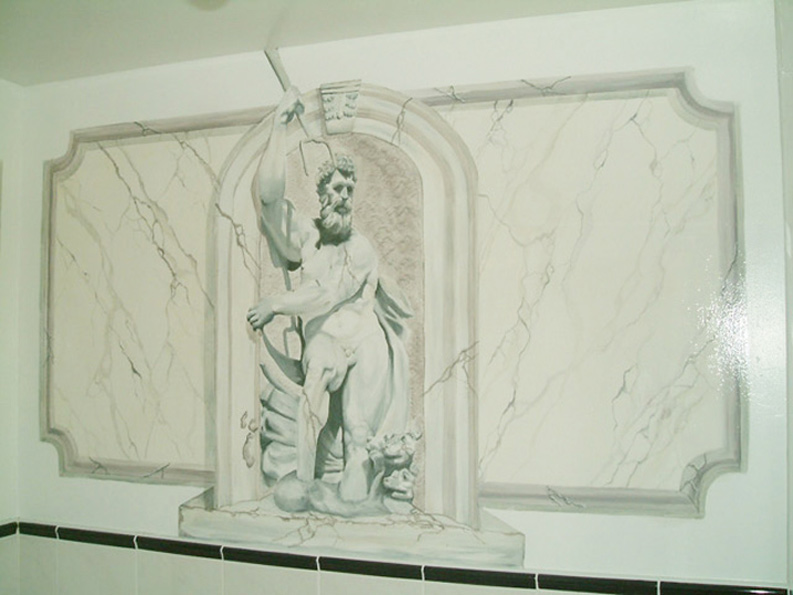 Trompe l'eoil mural and marbling cariied out by Devlin In Design at a private residence.