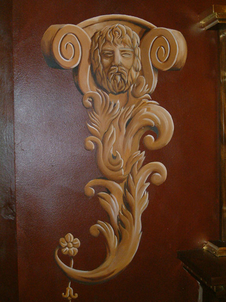Trompe L'oeil Moulding on a faux finished wall, private residence, Ireland.