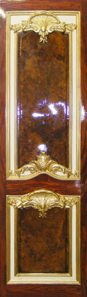 19th Century Restoration Wood Grained and Gilded Panel in walnut wood grain and mahogany wood grain.