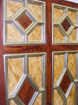 Satin Wood and Mahogany Wood Grained and Gilded Panel, 19th Century Private Residence