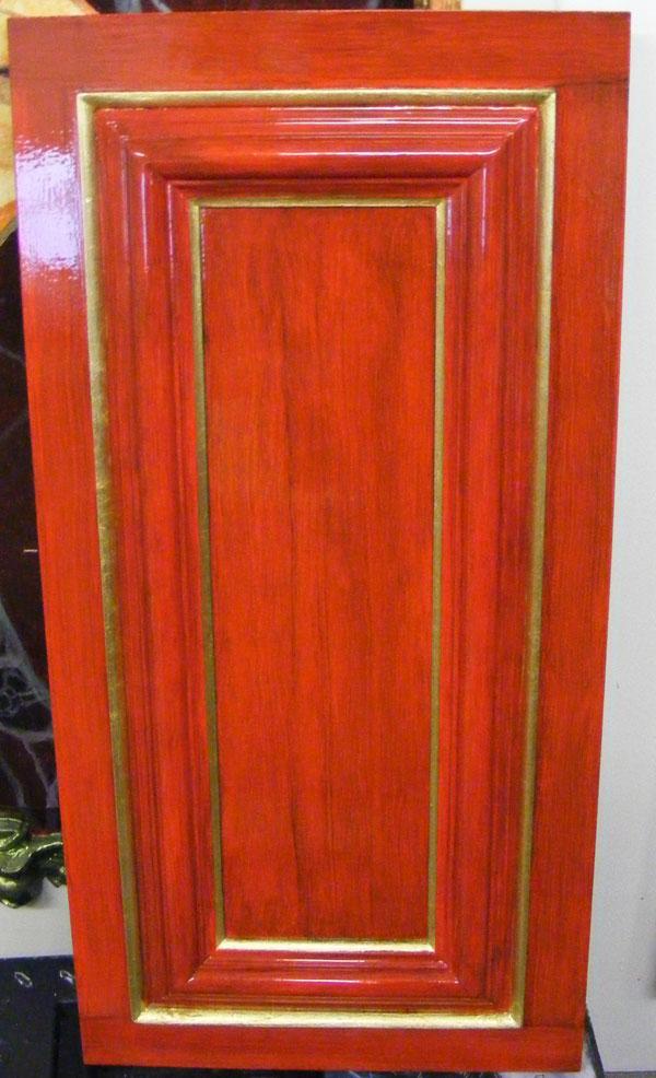 Woodgrain panel with ornate gilded frame, Silk Restaurant, Allure of the Seas cruise ship.
