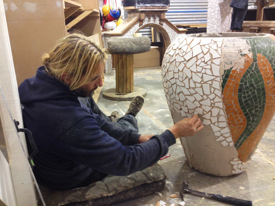 Creating the mosaic for the decorative pillars to be assembled at Duende restaurant in Ireland.