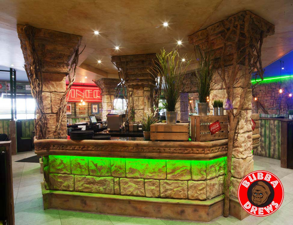 Sculpted bar facade and pillars with faux finish ceiling and internal specialist decorating.