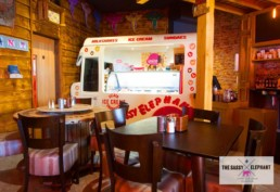 vintage hand crafted ice cream van facade, specialist decorating UK