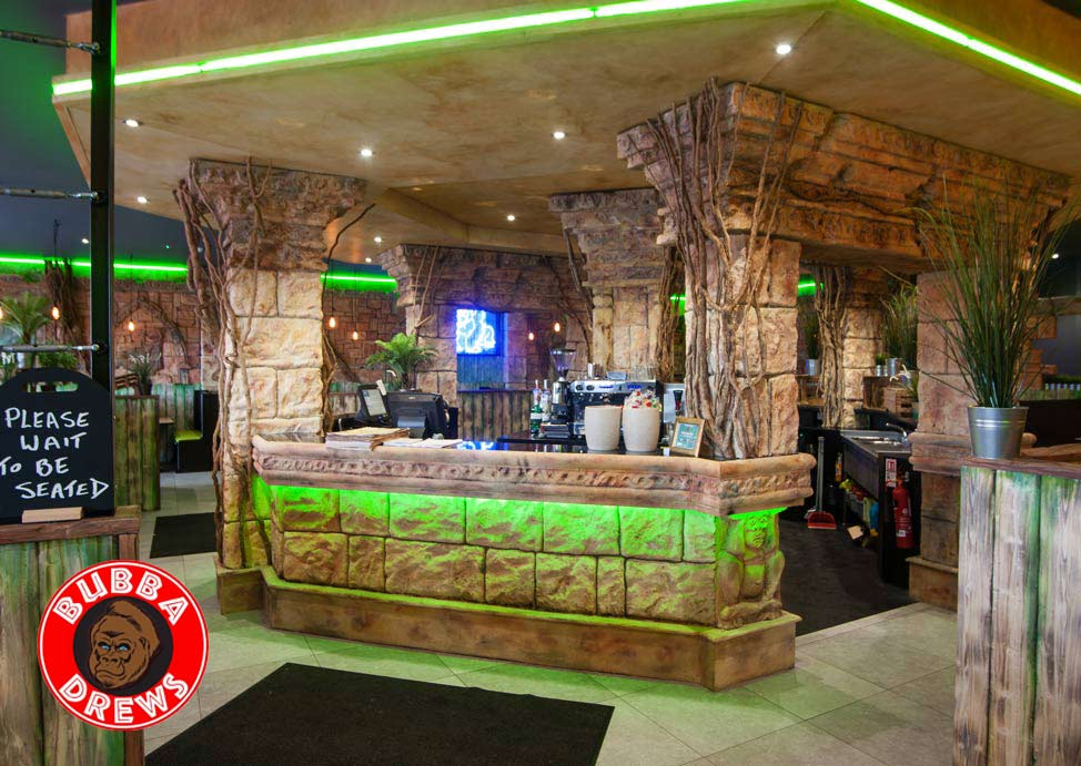 Bubba Drews restaurant was hand sculpted and carved by our master specialist decorators and sculptors. The restaurant was also given an array of faux finishes and decorative painting to enhance the jungle type theme.