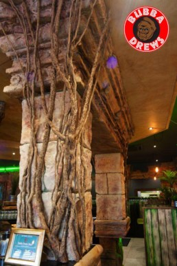 Sculpted bar facade, faux finished ceilings, decorative painting UK