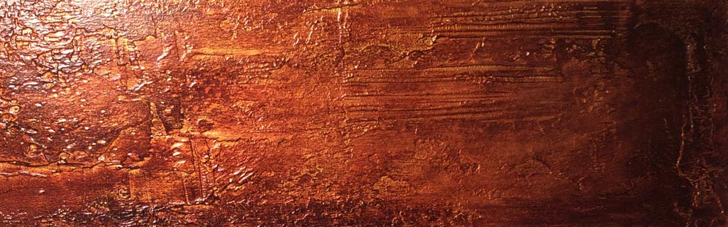 Distressed copper metallic wall finish