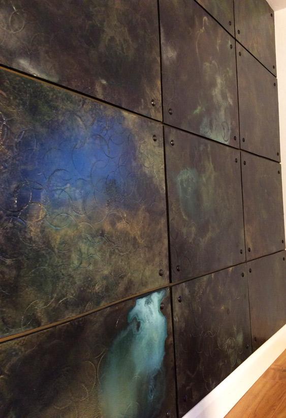 Decorative wall panels, metal wall panels, bronze patina walls, gilding