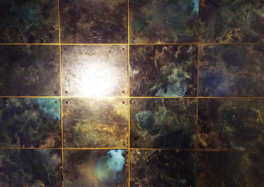 Bronze metal wall panels for private residence in Paris.
