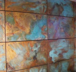 Copper wall panels, copper patina, Distressed wall panels, distressed walls