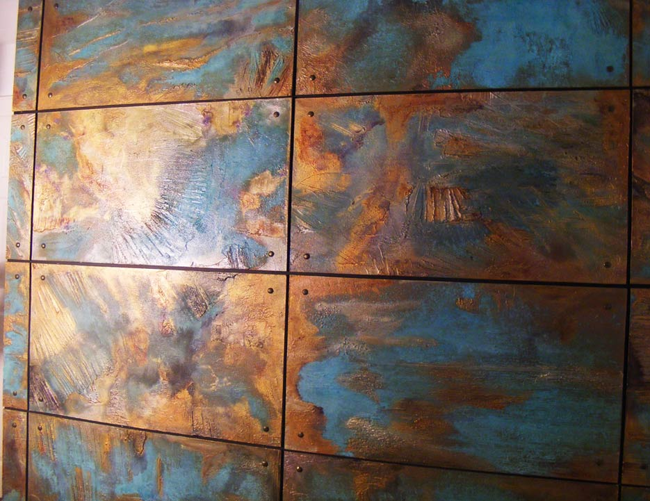 Copper wall panels created for private client in Dubai.